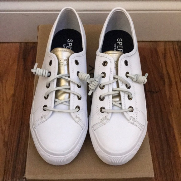 fc1df1fbb0 Sperry Shoes | Leather Whitegold Platform Sneaker | Poshmark